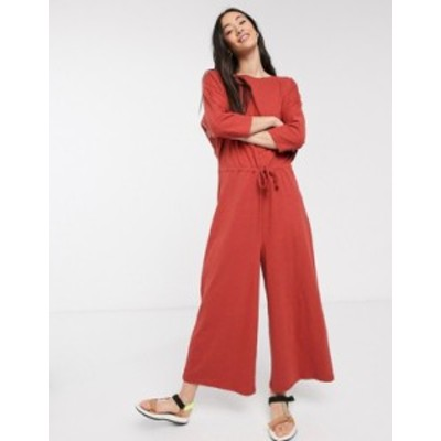 エイソス レディース ワンピース トップス ASOS DESIGN lounge tie waist casual jumpsuit in terracota jersey slub Terracota