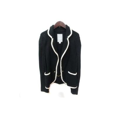 【中古】テーラードジャケット シングル ツイード 2 黒 ブラック  /YI レディース 【ベクトル 古着】