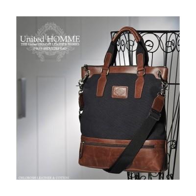 メンズショルダーバッグ トートバッグ United HOMME ユナイテッドオム ヴィンテージ加工2WAY  男性用鞄 カバン