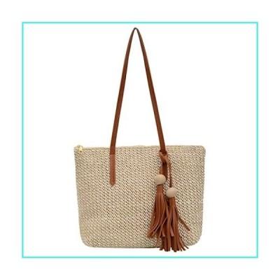 【新品】Handwoven Rattan Bag for Women Cross Body Bohemian Straw Shoulder Purse Beach Carrying Handbag (Off white)(並行輸入品)