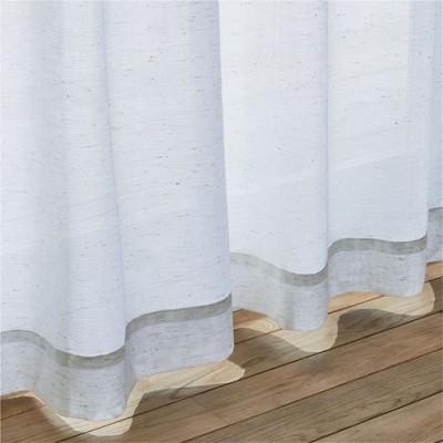 天然素材混の国産レースカーテン/ナチュラル/幅200×丈98(1枚物)
