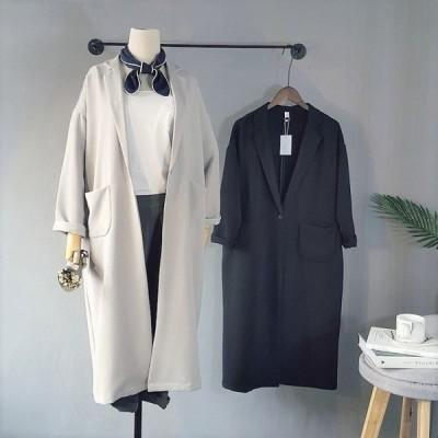 テロンチトレンチコート (ブラック/ライトグレー)ロングコート アウター 大きいサイズ ダウンジャケット スプリングコート 春コート
