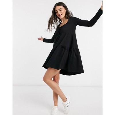 エイソス ASOS DESIGN レディース ワンピース ティアードドレス mini tiered smock dress with square neck and tiered hem in black ブラック