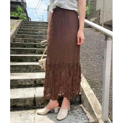 スカート ワッシャー加工ロングスカート