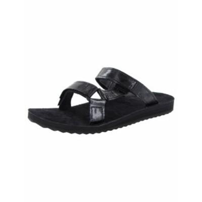 On オン ファッション サンダル Teva Womens Universal Slip Patent Leather Slip On Sandals Shoes Black