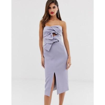 トルゥー ディカデンス True Decadence レディース ワンピース premium double bow front midi dress with keyhole detail in soft lavender