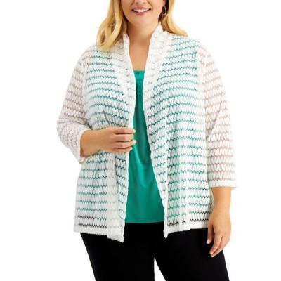 カスパール レディース ジャケット・ブルゾン アウター Plus Size 3/4-Sleeve Crochet Cardigan