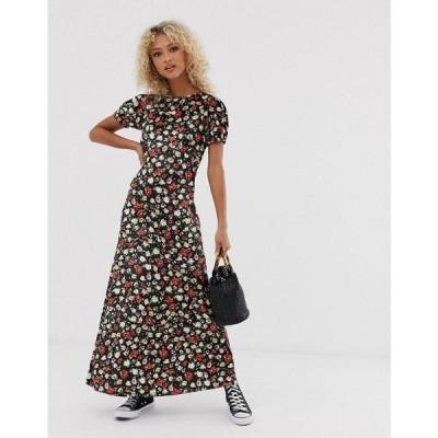 エイソス ASOS DESIGN レディース ワンピース ワンピース・ドレス printed velvet maxi tea dress Black/khaki