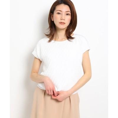 tシャツ Tシャツ 【洗える】異素材フレンチスリーブプルオーバー
