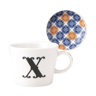 東欧風ALPHABET MUG イニシャル マグカップ&小皿 ギフトセット アルファベット プレート付マグカップ X MADE IN JAPAN 日本製 誕生日ギフト雑貨