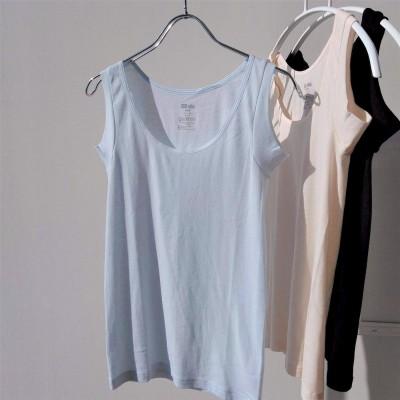 綿100%で吸汗速乾 強撚糸のシャリ感が心地よいタンクトップ〈M~L〉の会 フェリシモ FELISSIMO