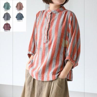 格子シャツ ストラップシャツ ブラウス レディースブラウス レディースシャツ 学園風 清涼感 おしゃれ 人気 20代 30代 40代 カジュアル