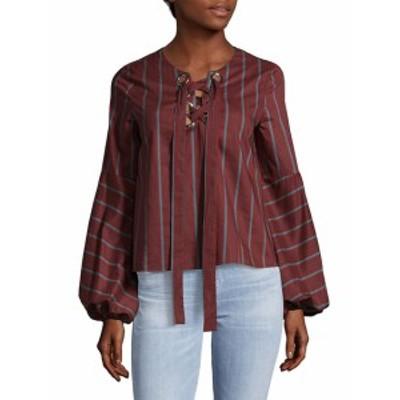 レディース トップス シャツ Woven Lace-Up Front Cotton Top