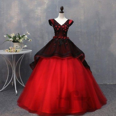 カラードレス ロング カラードレス 結婚式 花嫁 半袖 赤 黒 高級感 二次会 パーティードレス チュール 編み上げ  ウェディングドレス ウエディング 演奏会