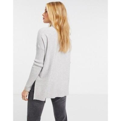 リバーアイランド レディース ニット&セーター アウター River Island rib stitch high neck sweater in gray Gray heather