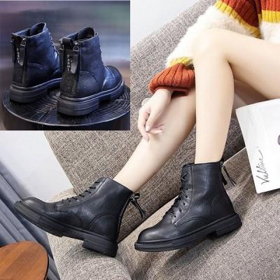韓国牛革 レディースマーチンブーツ 3.5cm 厚底 ショートブーツ マーチンブーツ歩きやすい  秋冬ワークブーツ ファション 滑り止めショートブーツ