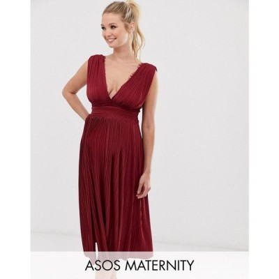 エイソス ASOS Maternity レディース ワンピース ワンピース・ドレス ASOS DESIGN Maternity Premium Lace Insert Pleated Midi Dress Oxblood