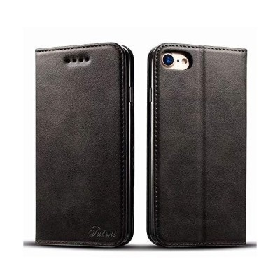 iPhone8 iPhone7ケース 手帳 YUYIB 耐衝撃 耐摩擦 高級PUレザー 財布型 (ブラック)