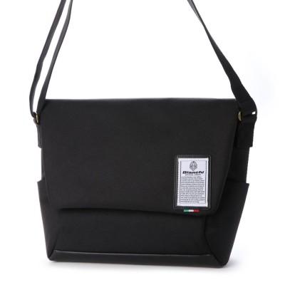 ビアンキ Bianchi かぶせショルダーバッグ (black/black)