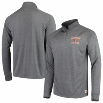 Stitches スティッチ スポーツ用品  Stitches Baltimore Orioles Heathered Charcoal Team Raglan Quarter-Zip Pullover Jacket