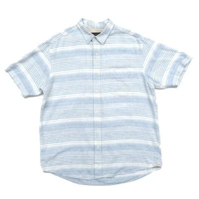 古着 リネン 半袖シャツ ボーダー サイズ表記:L