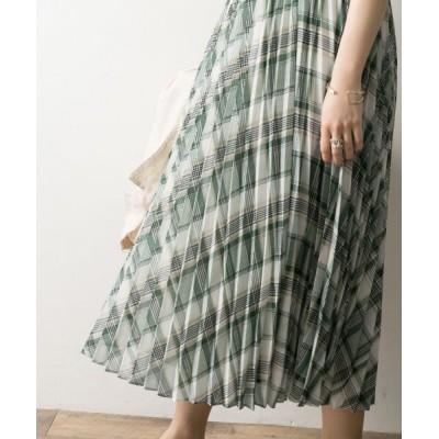 【アーバンリサーチ】 チェックシフォンプリーツスカート レディース GREEN系 FREE URBAN RESEARCH