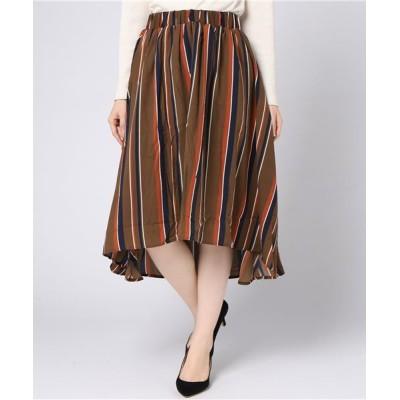スカート パウダーサテンマルチストライププリントスカート