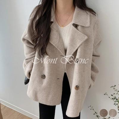 コート ショート丈 レディース ダブル ショート丈コート レトロ ゆったり Pコート チェスター ベージュ ブラウン 韓国ファッション