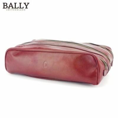 バリー クラッチバッグ セカンドバッグ ボックス型 Bマーク ボルドー ゴールド BALLY 中古 D2089
