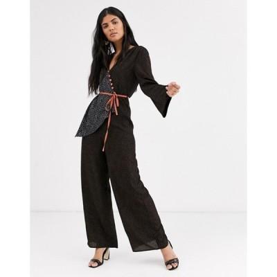 ロストインク レディース ワンピース トップス Lost Ink tea jumpsuit with constrast tie waist