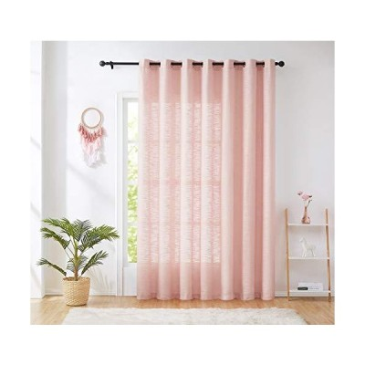 Semi Sheer Pink Patio Door Curtains for Bedroom 96 inches Long Sliding Door Curtain Extra Wide Window Curtains Room Divider Linen Textured C