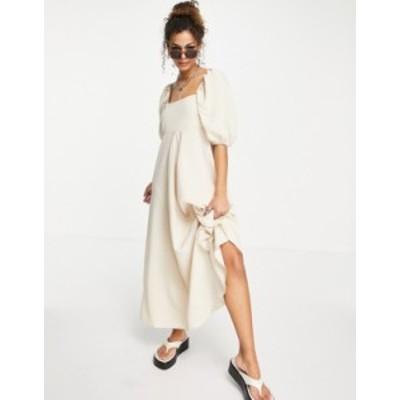 エイソス レディース ワンピース トップス ASOS DESIGN trapeze maxi dress in beige gingham Beige/white gingham