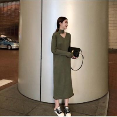 大人のワンピース 自分にご褒美 オルチャン服 オルチャン ファッション 韓国 レディースファッション ニットワンピース ロング ニット レ