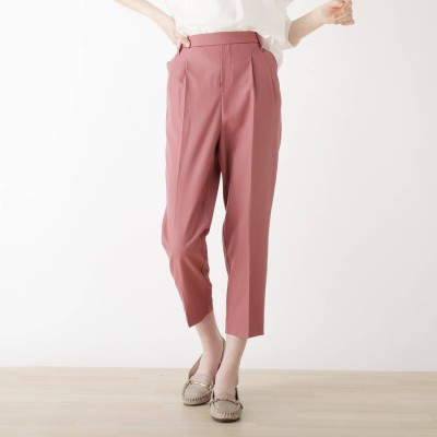 シューラルー SHOO-LA-RUE 【S-LL/股下短め/3Dスキャン】ツイルテーパードパンツ (ピンク)
