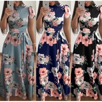 女性の夏のカジュアルなイスラム教徒スタイルのフラワープリントのエレガントな包帯ロングドレス
