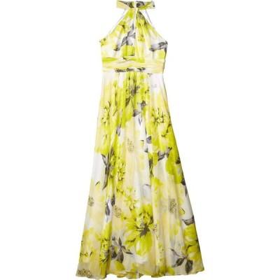 カルバンクライン Calvin Klein レディース パーティードレス ワンピース・ドレス Floral Knot Neck Gown with Keyhole Pear Multi