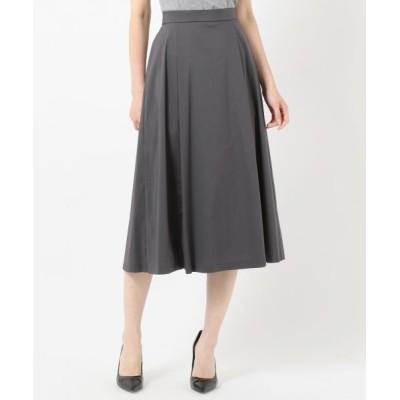 L size ONWARD(大きいサイズ)/エルサイズオンワード 【洗える】コットンナイロンシルキーローン スカート グレー系 T13