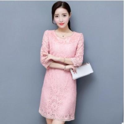 韓国 オルチャン ワンピース 透け感 花柄 7部袖 ワンピース パーティー ドレス ひざ丈 ピンク ホワイト 結婚式 二次会