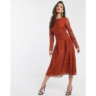 エイソス レディース ワンピース トップス ASOS DESIGN long sleeve prom dress in lace with circle trim details
