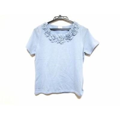 エリザ ELISA 半袖セーター サイズ3 L レディース 美品 ライトブルー フラワー【中古】20200625