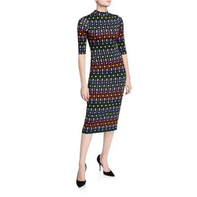 アリス アンド オリビア レディース ワンピース トップス Delora Printed Mock-Neck Elbow-Sleeve Fitted Midi Dress
