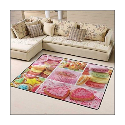 Area Rug Colorful, Cupcakes Macarons Biscuits Modern Rugs Provides Protection and Cushion for Floors 6 x 9 Feet