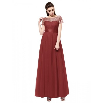 Dresstell(ドレステル) カラードレス 演奏会 パーティドレス レース 切り替え リボン付き ロング丈 半袖 チュール 発表会ドレス