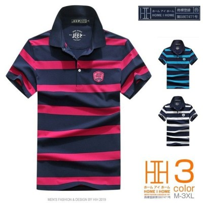 ポロ メンズ 半袖 ポロシャツ ゴルフ ボーダー 配色 インパクト オシャレ