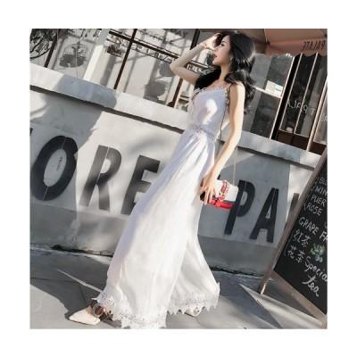 オールインワン レディース ファッション 40代 30代 パーティードレス レース 韓国 春 春物 春服装 夏 レースディテール ウエストシースルー