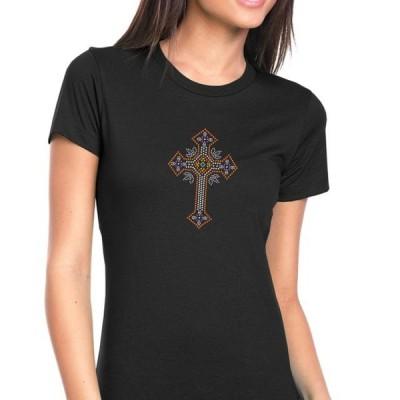 レディース 衣類 トップス Womens T-Shirt Rhinestone Bling Black Tee Ornate Catholic Cross Crew Neck Small Tシャツ
