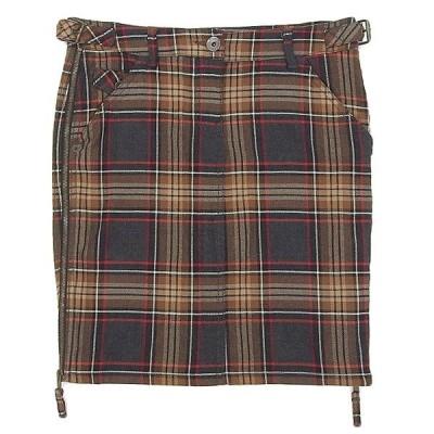 モスキーノ MOSCHINO ウール混 チェック柄 ひざ丈 スカート ブラウン系 size42 X03274