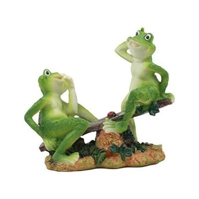 Ebros 夏 楽しい コテージガーデン シーソーに座っている てんとう虫の像 長さ7.75インチ カエル キノピオ 恋人たち 家の装飾に