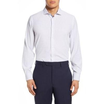 レポートコレクション メンズ シャツ トップス Dot Print Modern Fit Dress Shirt 01 WHITE