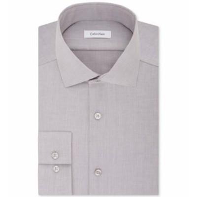 Calvin Klein カルバンクライン ファッション ドレス Calvin Klein Mens Gray Size 15 1/2 Slim Fit Herringbone Dress Shirt